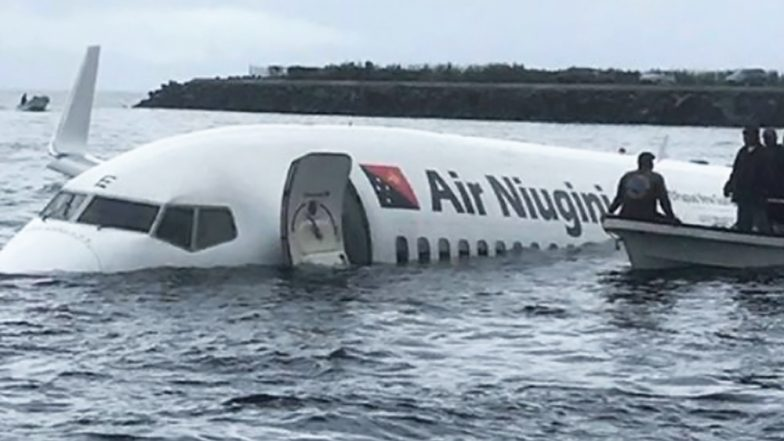 Air Niugini Plane Overshoots Runway in Micronesia to Land on Water Lagoon, Watch Video of Rescue