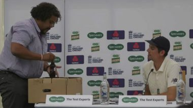 Alastair Cook Presented With 33 Beer Bottles by British Media as Farewell Gift to Celebrate His 33rd Hundred (Watch Video)