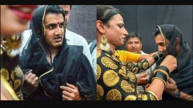 Gautam Gambhir Dresses as a Woman, Puts Bindi and Dupatta Over Head While Attending 7th Hijra Habba Event in Delhi! See Pics of Indian Cricketer