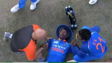 Hardik Pandya is Stretchered Off the Ground During India vs Pakistan Asia Cup 2018 Cricket Match! See Pics of Injured Indian All-Rounder in Dubai