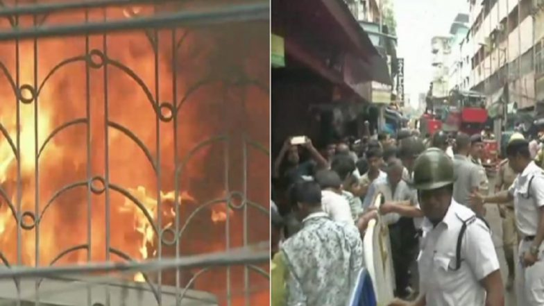 Bagri Market Fire: Kolkata's Busiest Trading Hub up in Flames, 30 Fire Tenders at Spot; Traffic Restrictions Imposed