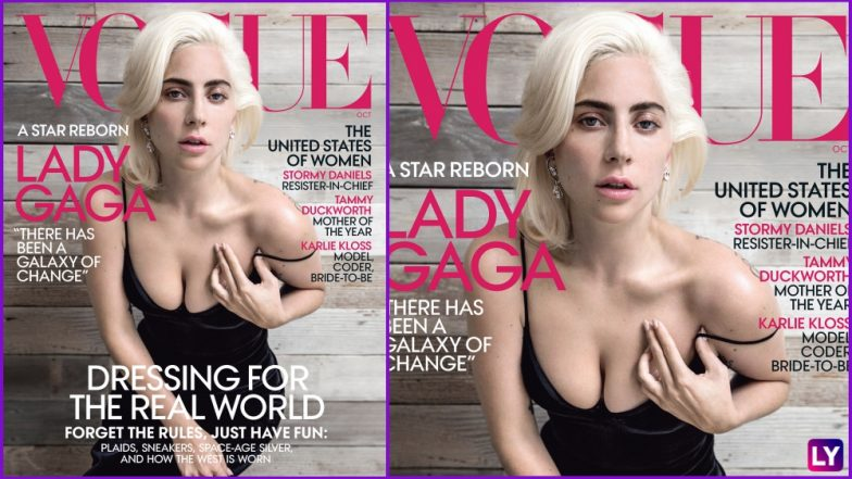 Lady Gaga's Cleavage Spills Out in a Tight Boob-Baring Little Black Dress on Vogue October 2018 Magazine Cover (See Pics)