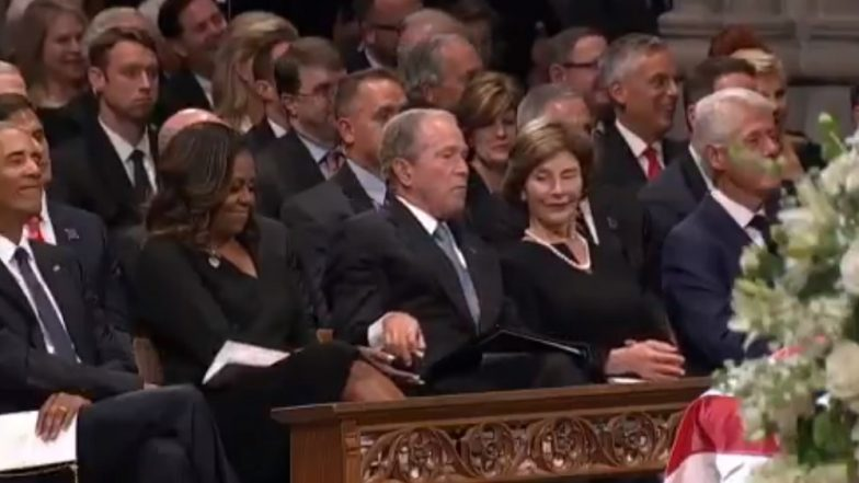Laura Bush Gives Candy to Michelle Obama Via George W Bush at Memorial Ceremony For John McCain, Watch Video