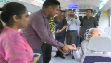 Narendra Modi Takes Delhi Metro to Reach Inaugural Ceremony of India International Convention, Watch Video
