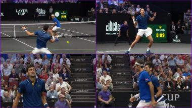 Roger Federer Accidentally Hit by Partner Novak Djokovic During Laver Cup 2018 Doubles Match! Watch Funny Video