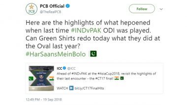 India vs Pakistan, Asia Cup 2018: PCB Tweets to Troll Indian Cricket Team, But Wrong English Get's Them Hit-Wicket