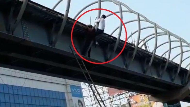 Raipur Traffic Constable Saves Youth Trying to Commit Suicide From Skywalk (Watch Video)