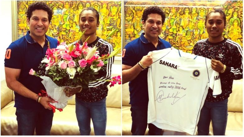 Hima Das Meets Sachin Tendulkar: Indian Sprinter Gifted a Signed Jersey by Master Blaster As Duo Exchange Greetings on Twitter! (View Pics)