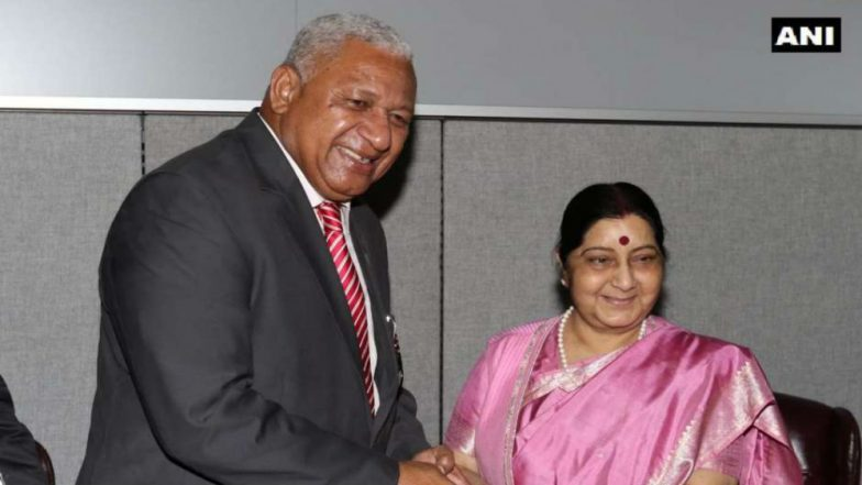 Sushma Swaraj, Fiji PM Frank Bainimarama Discuss Defence Cooperation on Sidelines of UN General Assembly Meeting