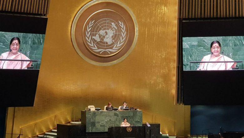 Sushma Swaraj Tears Into Pakistan at UNGA, Blames Islamabad For Derailment of Talks: Read Full Text of EAM's Speech