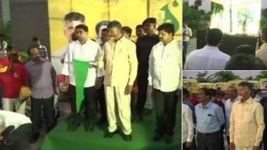 Andhra Pradesh CM Chandrababu Naidu flagged off the 'Swachh Dhara' programme in Amaravati