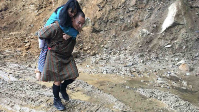 Ex Bhutan PM Tshering Tobgay Carrying Wife Tashi Doma on His Back is Reminding Internet of All Things Romantic (See Pic)