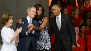 George W. Bush Passes Candy to Michelle Obama at Senator John McCain's Funeral, Twitterati Comes up with Funny BFF Meme & Jokes