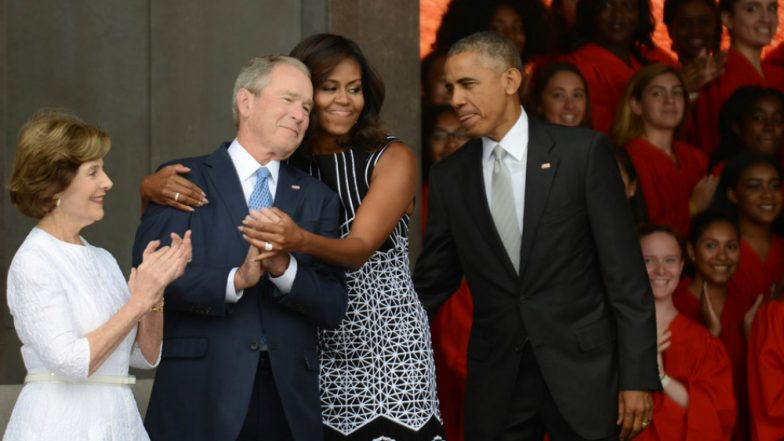 George W Bush Passes Candy To Michelle Obama At Senator John