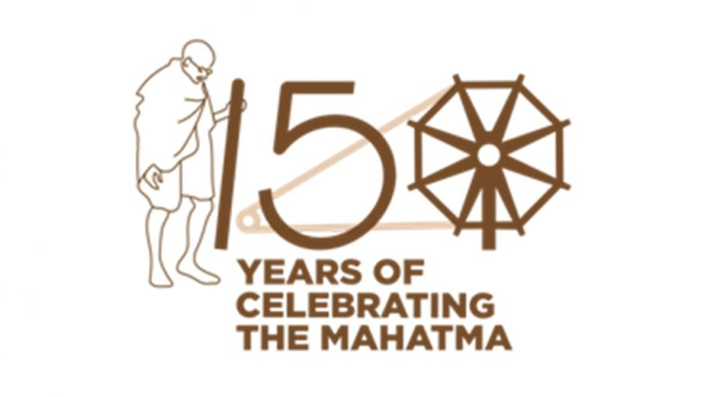 Logo to commemorate 150th birth anniversary of Mahatma Gandhi (Image credit: PIB)