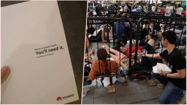 Apple Fans Queuing for iPhones XS in Singapore Gets Free Power Banks by Huawei As a Marketing Gimmick