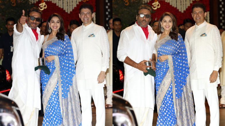 Jackie Shroff Bumped Into His Celebrity Crush Madhuri Dixit at Ambani's Ganpati Puja and His Reaction Is Too Adorable – View Pics