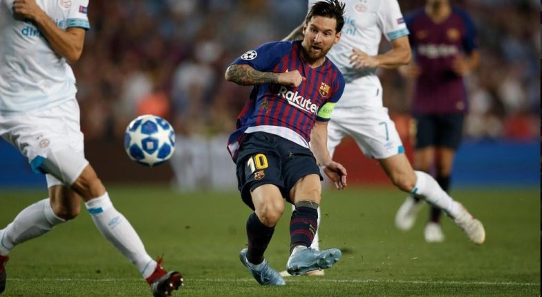 Lionel Messi Scores a Hat-Trick in Barcelona vs PSV Eindhoven, UEFA Champions League 2018 Matchday 1 (Watch Football Game Video)