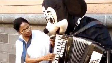 Mamata Banerjee Plays 'Hum Hongey Kaamyaab' on Accordion With Micky Mouse on Frankfurt Street; Watch Video