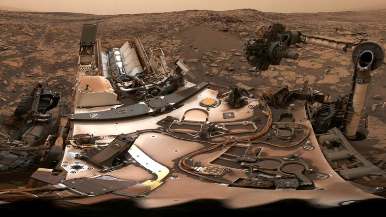 NASA's Curiosity Rover Captures a Selfie on Mars in a Panoramic View of Dusty Martian Skies