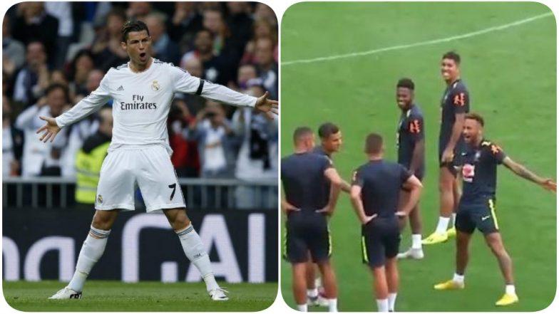 Neymar Jr COPIES Cristiano Ronaldo's Goal Celebration Style (Watch Video)