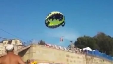 Couple Electrocuted in a 'Batman' Parachute After They Hit High-Voltage Cables at a Russian Beach (Watch Video)