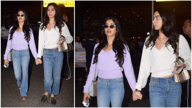 Janhvi Kapoor and Khushi Kapoor's Recent Airport Look Proves You Can Never Go Wrong With the Classic White and Blue Colour Combo