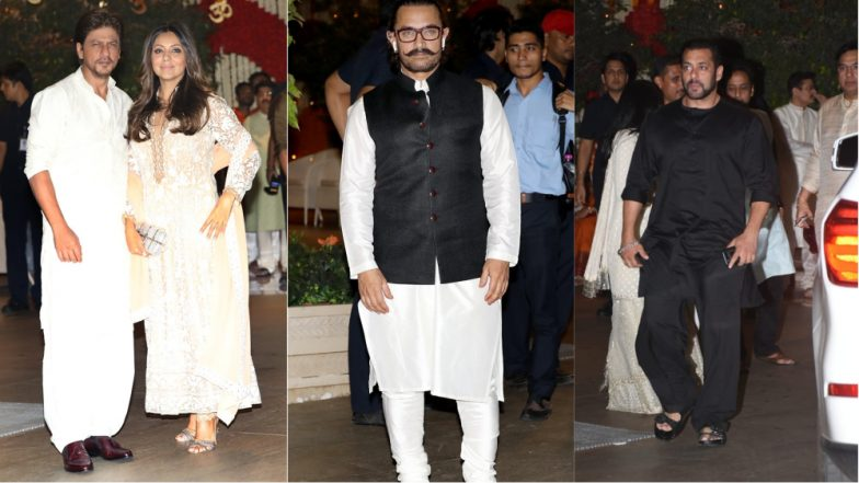 Ganesh Chaturthi 2018 Celebrations at Ambanis: Shah Rukh Khan, Salman Khan, Aamir Khan and Others Look Traditional Best at the Bash (View Pics)