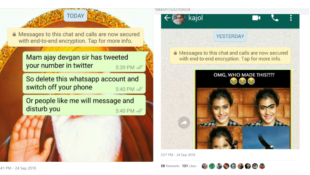 Husband shares Kajol's mobile number on social media