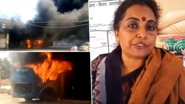 Varanasi: Woman Sets Bus on Fire on Being Stopped From Meeting PM Narendra Modi And UP CM Yogi Adityanath; Watch Video