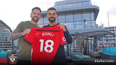 India vs England 2018: Virat Kohli Receives Customised Jersey from Southampton Football Club (See Pic)