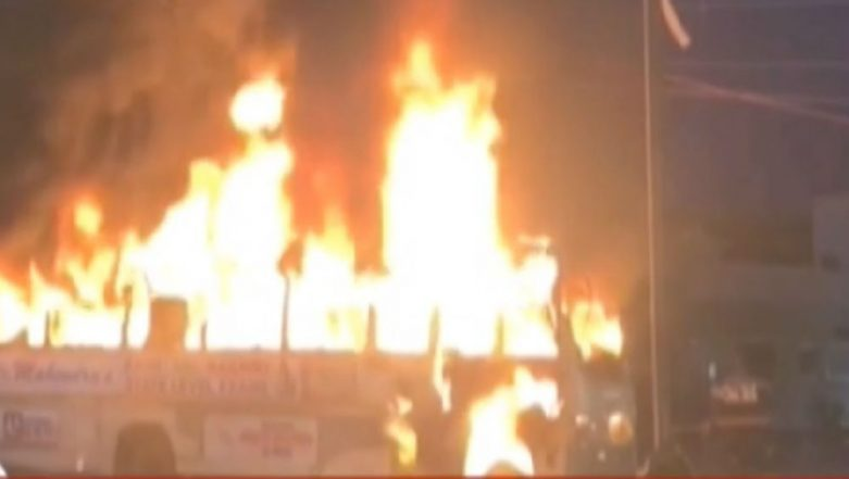 Fire on Moving Bus Carrying 30 Passengers in Lucknow, Watch Video