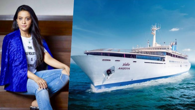 Amruta Fadnavis Takes Risky Selfie During Angriya Cruise Inauguration in Mumbai (Watch Video & Pics)