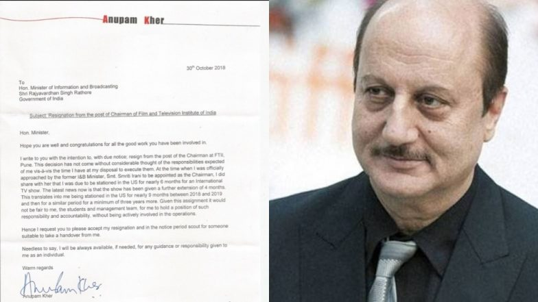 Anupam Kher Steps Down As Chairman Of Film And Television Institute Of India (FTII)