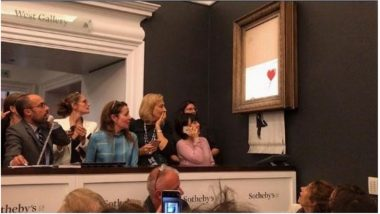 Banksy's Famous 'Girl with Red Balloon' Painting Self-Destructed After Being Sold at London Auction (Watch Video)