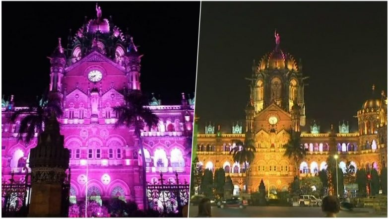 CSMT Mumbai Lit in Pink For International Girl Child Day & Breast Cancer Awareness, Yellow For Navaratri Day 2 (View Pics)