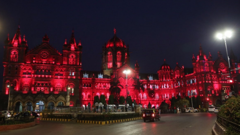 CSMT Building in Mumbai Illuminates in Red Colour to Wish & Celebrate Navratri 2018 on Day 7
