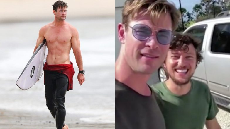 A Lucky Hitchhiker Got A Lift From The Mighty Thor (Chris Hemsworth) In His Private Chopper - Watch Video