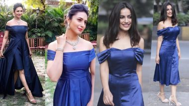 YHM vs Naagin 3: Divyanka Tripathi and Surbhi Jyoti Don Off-Shoulder Satin Blue Dress, Who Is Your Pick?