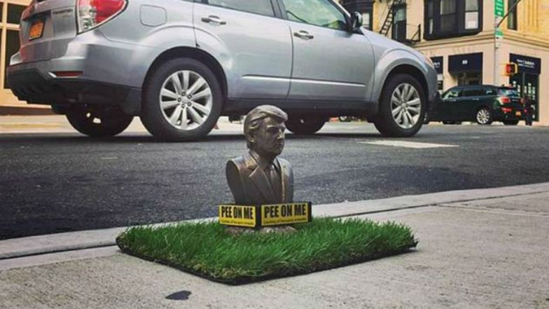 US President Donald Trump Statues Reading 'Pee on Me' Installed at Brooklyn Streets