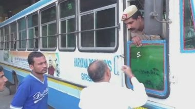 Haryana Roadways Employees Strike: State Police Personnel Drive Buses on Local Routes to Help Commuters
