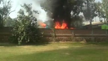 Delhi: Fire Breaks Out at a Bus Parking in Mori Gate