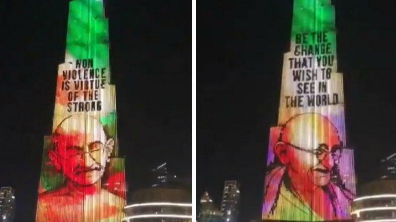 Gandhi Jayanti 2018: Burj Khalifa in Dubai Pays Homage to Bapu With Stunning LED Display, Watch Video