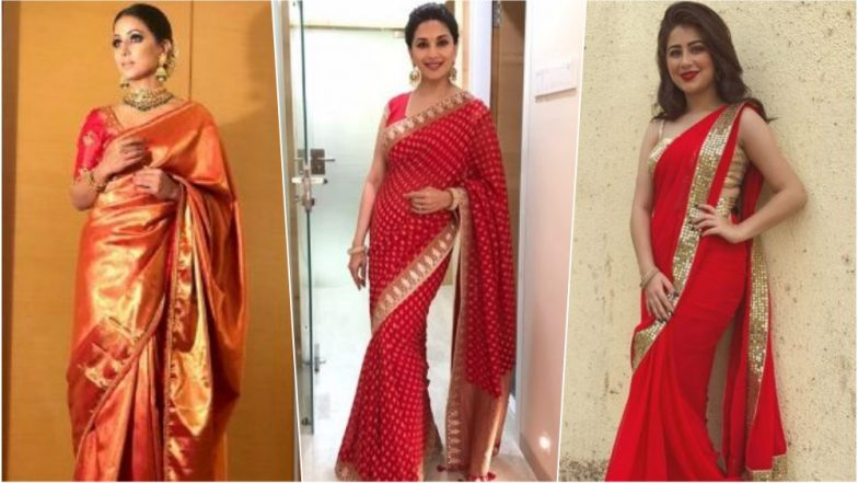 Navratri 2018 Colour for Day 7 on October 16 – Red: Hina Khan, Aditi Bhatia & Madhuri Dixit Show You How to Look Radiant in the Colour of Love This Festival