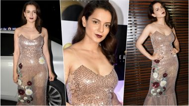 Kangana Ranaut Looks Bold & Fiesty in a Glittery Sequined Dress at Manikarnika's Wrap Up Party, See Sexy Pics