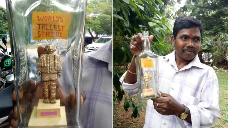 Sardar Vallabhbhai Patel Statue of Unity in a Bottle! Odisha Artist Makes Miniature Model of World's Tallest Statue, View Pics