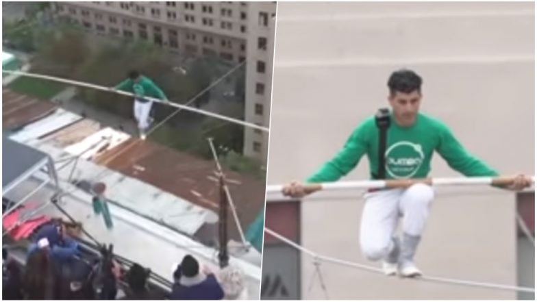 Daredevil Mustafa Danger Crosses 150 Meters at Santiago in Chile on Tightrope, Watch Video