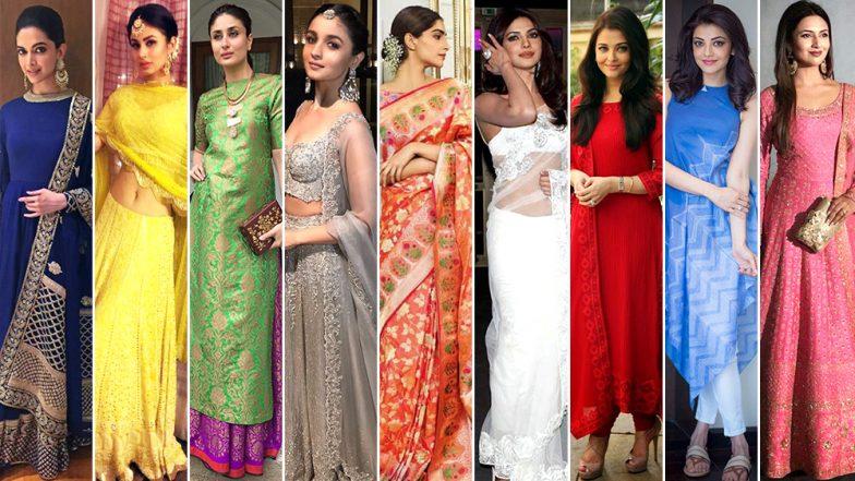 List of Navratri Colours 2018: Take Fashion Inspirations From Deepika Padukone, Priyanka Chopra and Alia Bhatt to Wear Nine Different Colours on Each Day of Navaratri