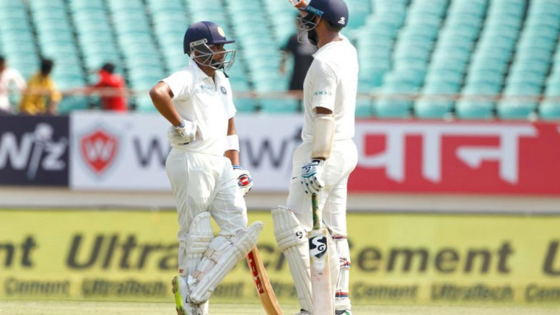 Image result for prithvi shaw and cheteshwar pujara vs windies