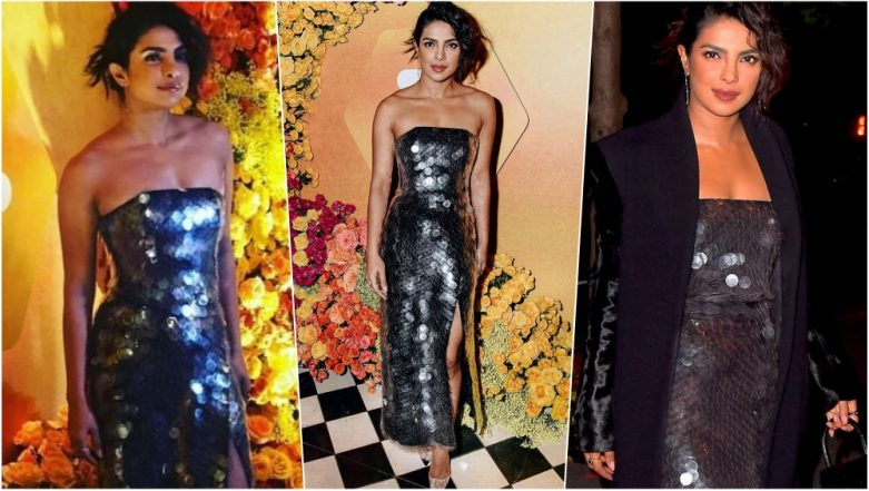 Priyanka Chopra Looks Scintillating in Silver Sequined Monotone Strapless Blouse & Skirt at Launch of Bumble India App in NYC (See Pics)